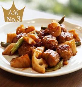 国産鶏肉団子の黒酢炒め